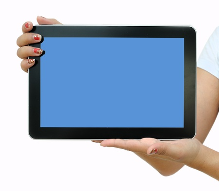 New tablet computer. Isolated over white background.  Stock Photo