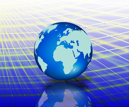 graticule: world map with blue shinyc abstrace network Stock Photo