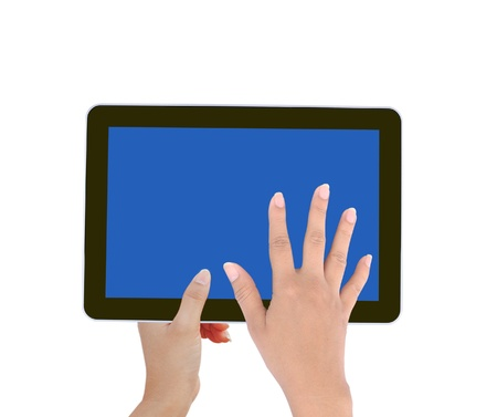 holds and touch tablet computer isolated on white background Stock Photo - 11477140