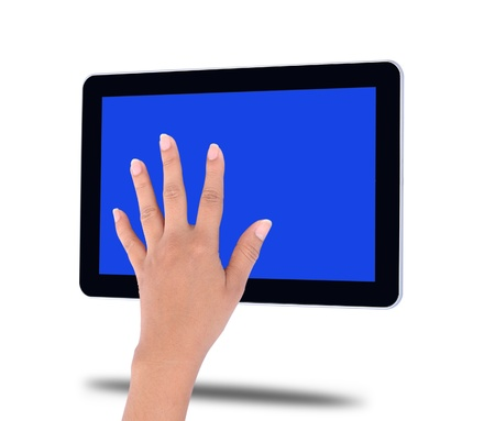 touch tablet computer isolated on white background photo