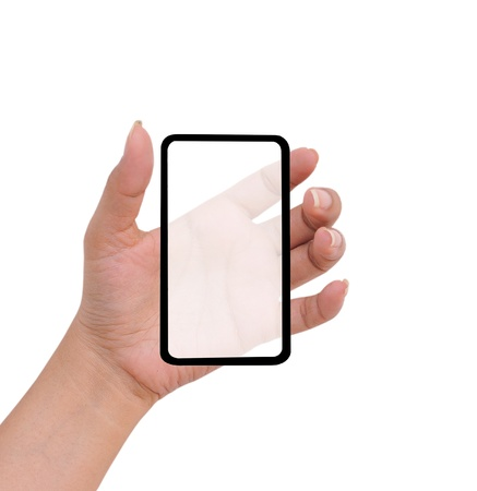 Hand female to hold card, mobile phone, tablet PC or other palm gadget, isolated on white  Stock Photo - 11721215