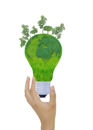 natural energy: Natural energy concept. with Light bulb Stock Photo