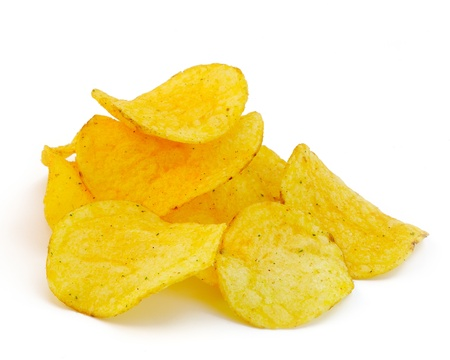 crisps: Potato chips isolated on white background
