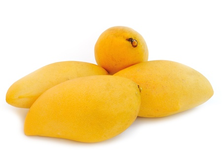 Yellow mango isolated on a white background  Stock Photo