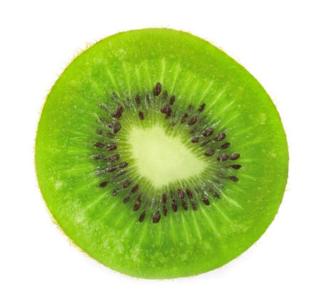 Beautiful slice of fresh juicy kiwi isolated on white background  Stock Photo - 12349978