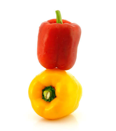 Red and yellow sweet pepper isolated on white background  Stock Photo - 12567247