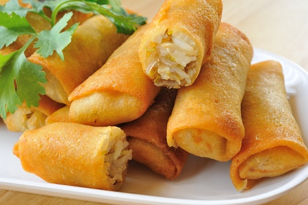 Fried Chinese Traditional Spring rolls food  photo