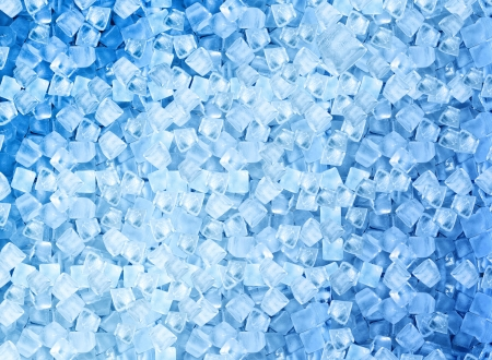 background with ice cubes in blue light  photo