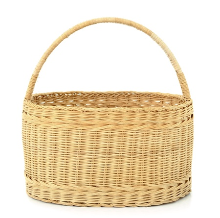 wicker basket isolated on white background Stock Photo - 12811153