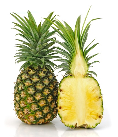 Pineapple slice isolated over white background.  photo