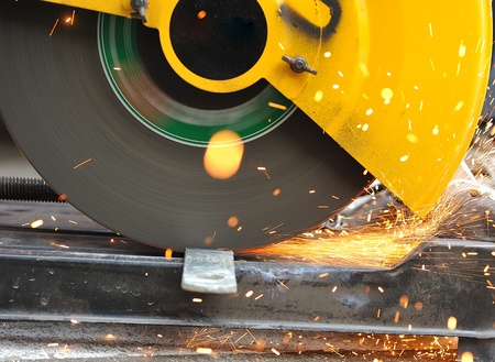 cutting steel with grinder  photo