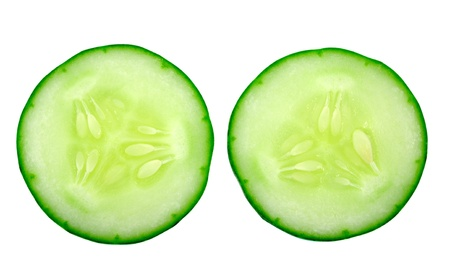 Fresh cucumber slice isolated on white background  photo