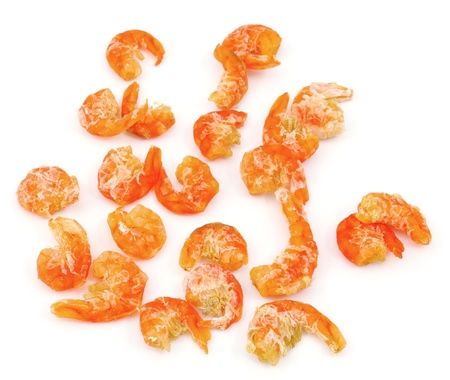 dried shrimp on white background photo