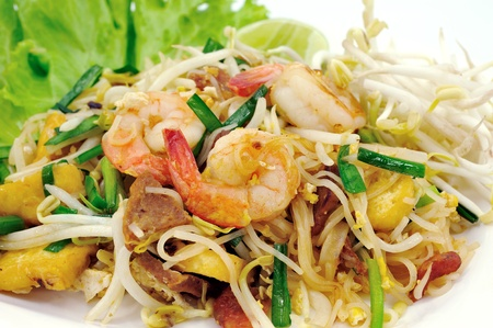 Thai food Pad thai , Stir fry noodles with shrimp  Stock Photo - 13100014