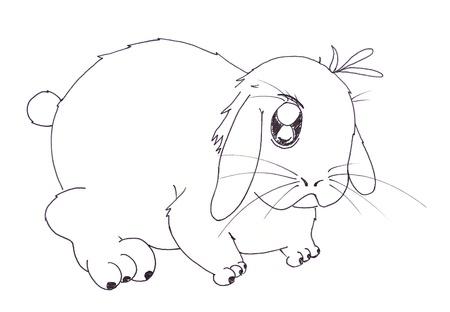 lowbrow: rabbit cartoon  Stock Photo