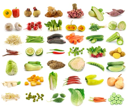 Vegetable collection isolated on a white background Stock Photo - 13157378
