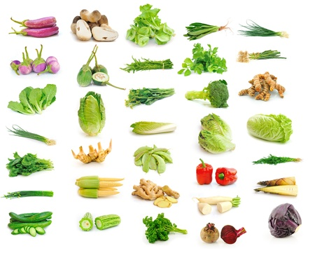 Vegetable collection isolated on a white background.  photo