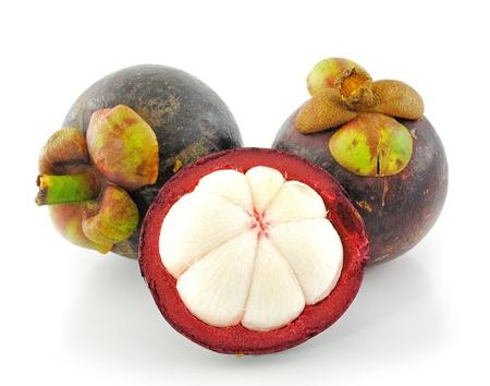 fresh mangosteen on a white background  photo