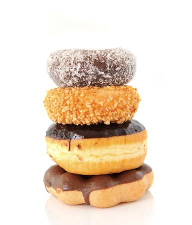 A stack of donuts on a white background Stock Photo - 13552402