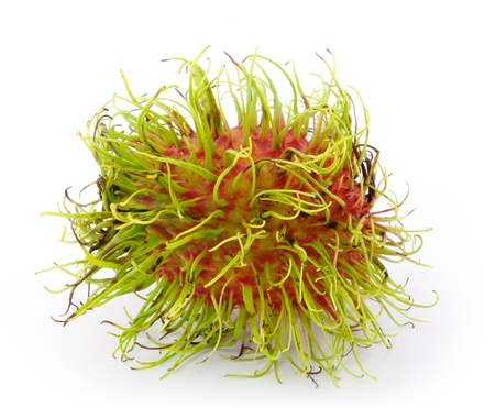 Rambutan is a fruit with sweet red shell  photo