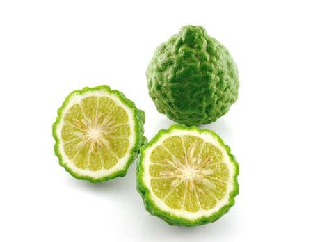 Kaffir lime slice on white background  photo