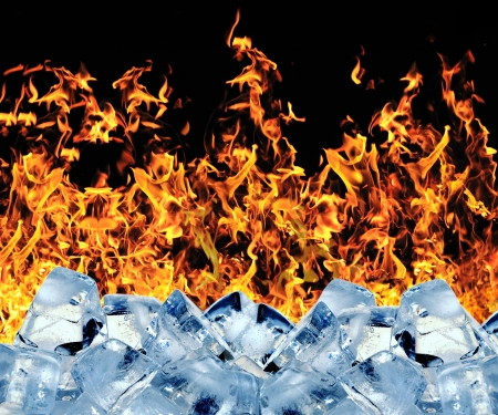 ice water: Burning ice cube