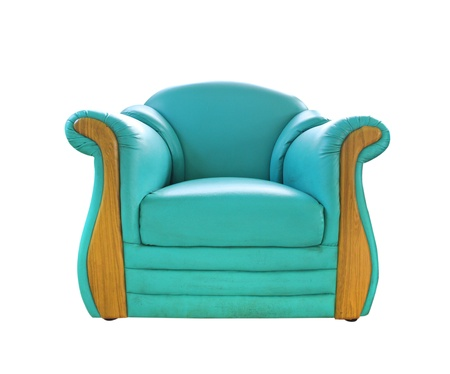 old green leather sofa isolated on white Stock Photo - 14461710