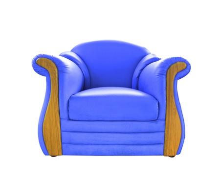 blue leather sofa: vecchio divano in pelle blu isolato su bianco