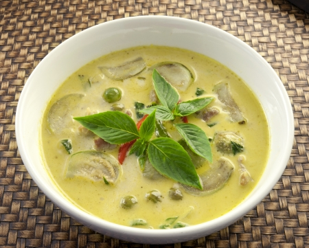 thai pepper: Green pork Curry , Thai cuisine