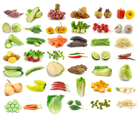 Vegetable collection isolated on a white background photo