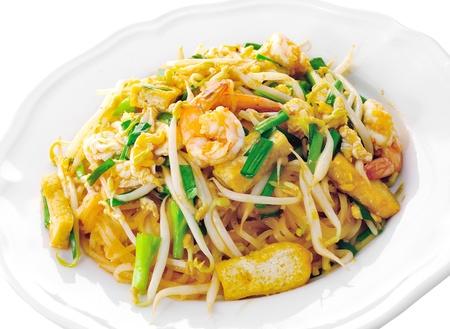 thai fruit: Thai food Pad thai , Stir fry noodles with shrimp Stock Photo