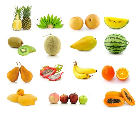 Large page of fruits isolated on white background  photo