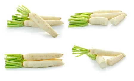 Daikon radishes isolated on white background photo
