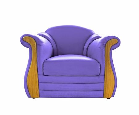 oldened: old Purple leather sofa isolated on white Stock Photo
