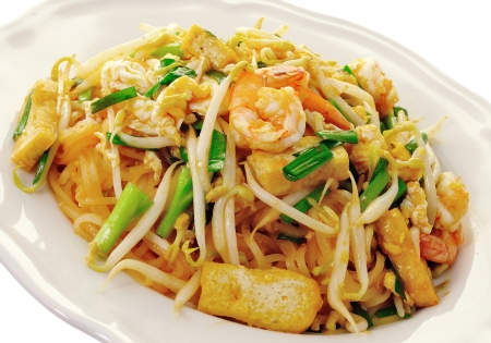 chinese noodles: Thai food Pad thai , Stir fry noodles with shrimp Stock Photo