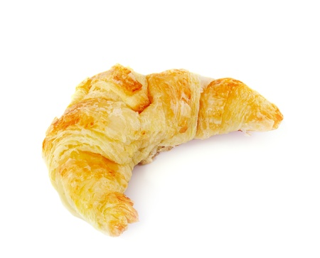 croissants: Fresh and tasty croissant over white background