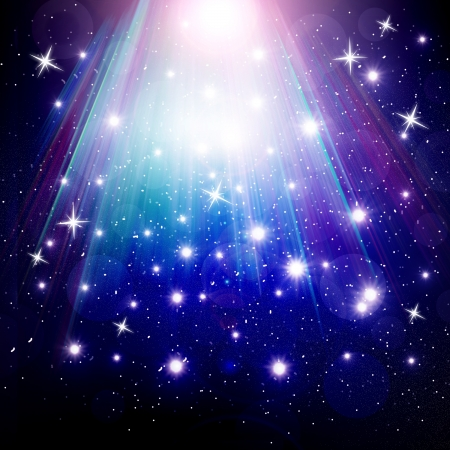 stars are falling on the background of blue luminous rays. photo