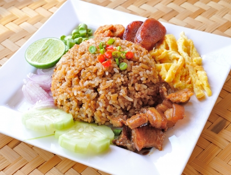 fry rice with the shrimp paste, Thai food Stock Photo - 17005005