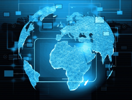 Globe with pointers, signals and social networking icons, Social media network Stock Photo - 17005007