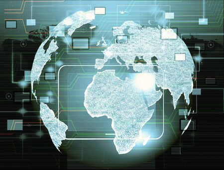 Globe with pointers, signals and social networking icons, Social media network Stock Photo - 17005008