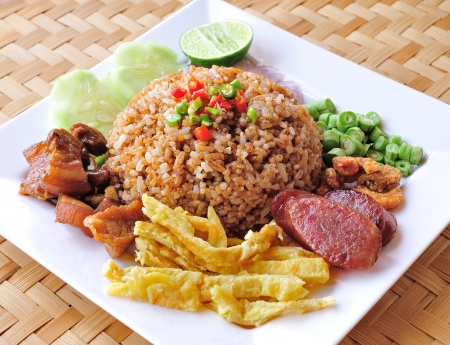 fry rice with the shrimp paste, Thai food Stock Photo - 17439959