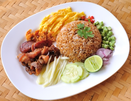 fry rice with the shrimp paste, Thai food Stock Photo - 17439967