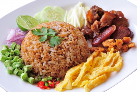 fry rice with the shrimp paste, Thai food Stock Photo - 17439964