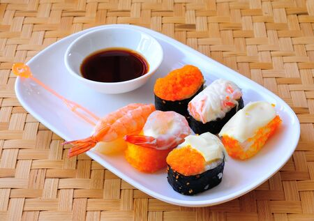 Set of sushi  on white plate Stock Photo - 17439911