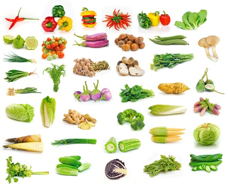 Vegetables collection isolated on white background Stock Photo - 17439912
