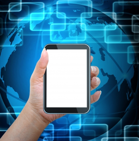 electronic commerce:  holding mobile smart phone with world technology background