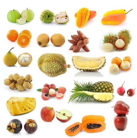 mangostano: la raccolta di frutta isolato su sfondo bianco