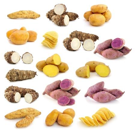 prepared potato: taro roots , sweet potatoes , Potato chips on white background Stock Photo