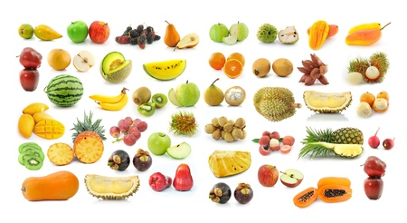 fruit collection isolated on white background photo