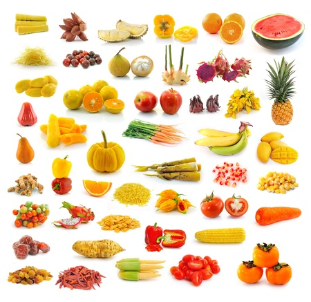 Fruits, vegetables, yellow and red. With beta carotene. photo